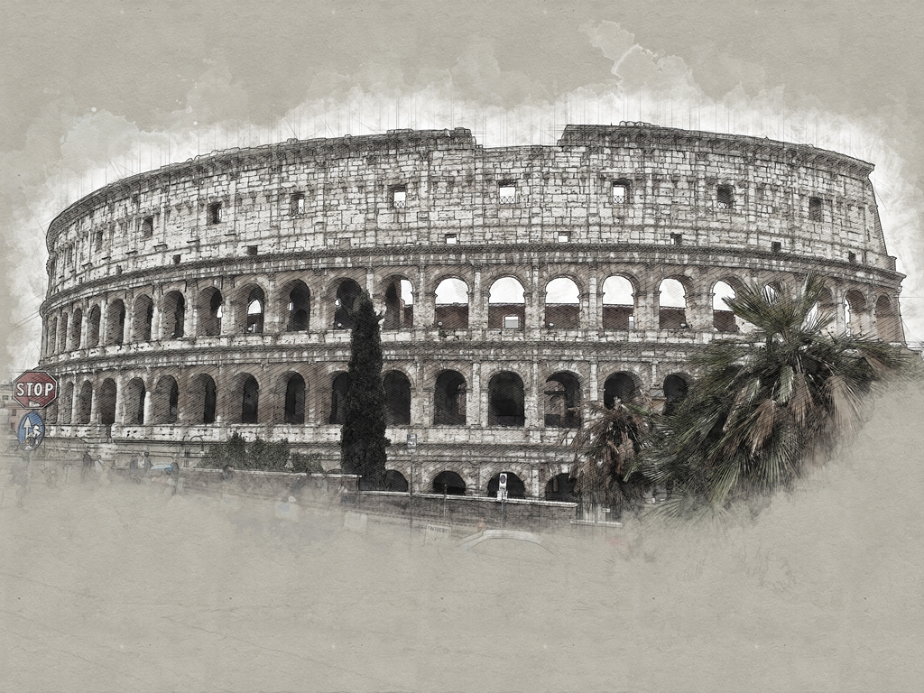 Photoshop illustration of the Colluseum, Rome