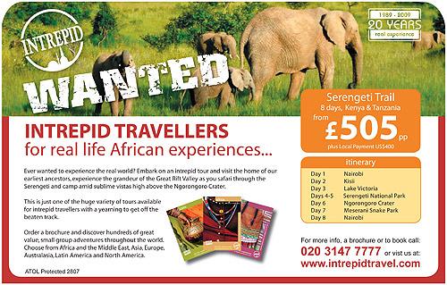 Press advert for Intrepid Traveller